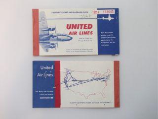 vintage united mainliner flight tickets 2 passenger tickets and