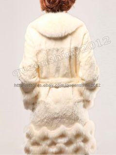 100 Real Genuine New Rex Rabbit Huge Fox Collar Long Coats Jackets
