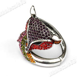 Wholesale 1x Fox Mix Rhinestone Silver Plated Animal Womens Fashion