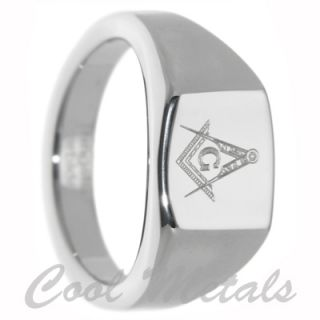 12mm Freemason Masonic Tungsten Carbide Ring Size 14