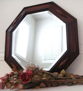 Antique Oak Wood Frame Octogon Shape Beveled Glass Mirror