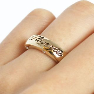 LOVE YOU Engraved Ring Eternity Band Size 6 Gold Plated with