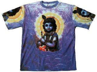 Lord Krishna Karma Hindu Avatar Bhakti Deity Tattoo Goa Trance Art T