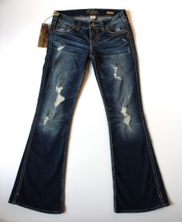 NEW SILVER FRANCES DARK DESTROYED FLARE SEXY STRETCH FLARE JEANS