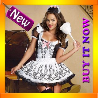 G87 Deluxe French Maid Fancy Dress Up Costume Hens Night Outfit Duster