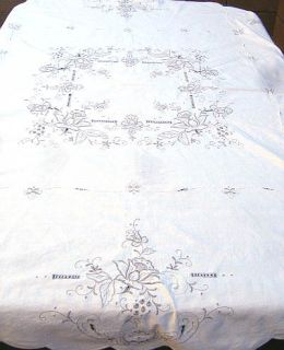 Floral Rose Tablecloth Beige Cotton 62 Round