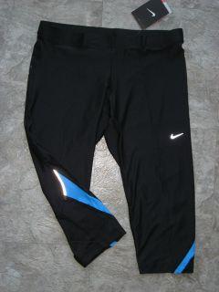 NEW Nike DRI FIT capris blk w blue accent LES MILLS RPM colors size M