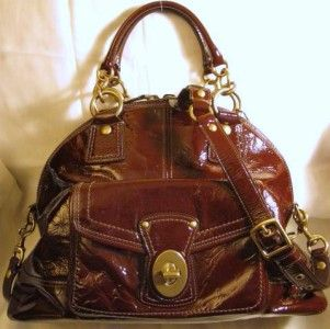 Coach Francine Legacy Mahogany Patent Leather Satchel Handbag