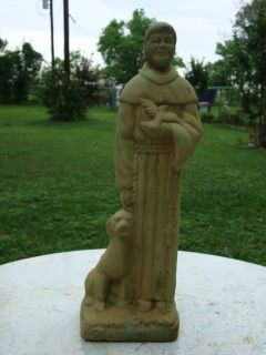 ST FRANCIS W DOG GRAY CEMENT CONCRETE GARDEN STATUE Bronze Green