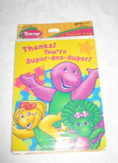 New Barney Birthday Party Supplies Thank You Cards