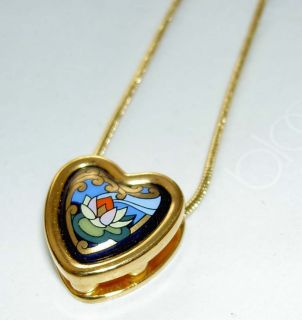 Authentic MICHAELA FREY Claude Monet Lotus Water Lily Heart Pendant