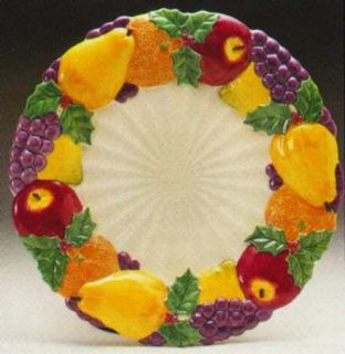 Oval Serving Platter Sunflower Fruits Basketweave EC Fitz Floyd