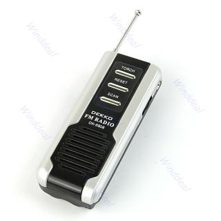 Portable Belt Clip Auto Scan FM Radio Receiver with Mini Flashlight