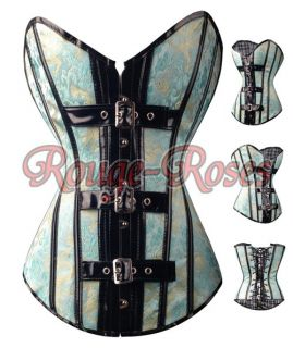 Gothic Baby Blue Floral 2XL CORSET Bustier Brocade Boutique Appealing