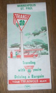 vtg TRIANGLE SHAMROCK KERR MCGEE ROAD MAP Minneapolis St Paul gas oil