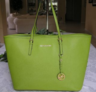 Michael Kors Jet Set Travel Leather Medium Tote Bag Purse Lime Green
