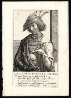 Antique Portrait Print LUCAS VAN LEYDEN PAINTER Hondius 1618