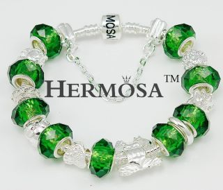 Gift Hermosa Forest Green Murano Bead Crystal Frog Silver Bracelet 8
