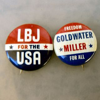 1964 LBJ vs Goldwater Miller Campaign Pinback Buttons 4pc