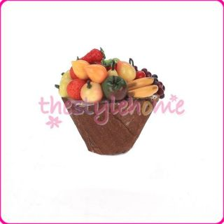 Vivid Colorful Wood Fruit Basket Model Miniature for 1 12 Dollhouse