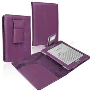 Leather Folio Case Cover w Light for  Kindle Touch Tablet