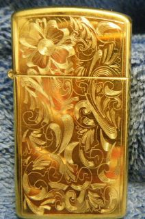 Zippo LIGHTER Ladies Engraved case Goldtone with original box