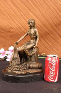 Serene Greek Maiden w/ Basket of Fruits Bronze Marble Sculpture Deco