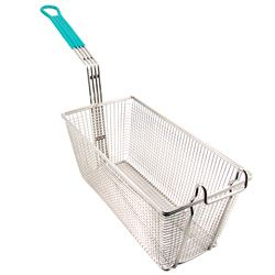 Deep Fryer Basket   Large   Heat Resistant Green Handle   Heavy Duty