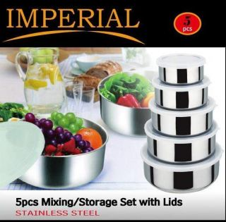 Pcs Stainless Steel Food Storage Container Mixing Bowl Set With Air