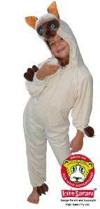 New Safari Plush Full Body Hooded Siamese Cat Costume