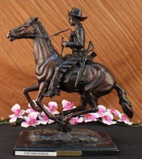 Frederic Remington Bronze Sculpture Cowboy Art Statue Outlaw Marble
