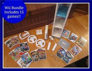 Nintendo Wii White Console Bundle Includes 15 Games Many EXTRAS