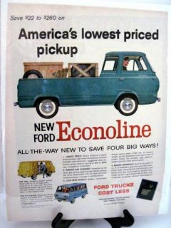 Ford Econoline Van Pickup Vintage Original Ad Backed Protected