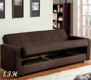 JANSEN CONTEMPORARY CHOCOLATE MICROFIBER FUTON SOFA BED w/ UNDER SEAT