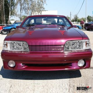 87 93 FORD MUSTANG 1PC CHROME HEADLIGHTS+CORNER SIGNAL LAMPS