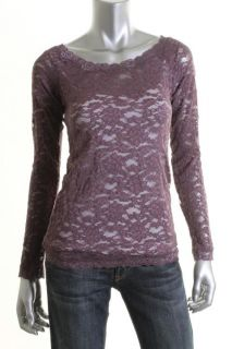 Famous Catalog Moda New Purple Lace Sheer Stretch Knit Pullover Top