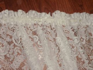 Shabby White Roses Lace French Door Curtain Panel