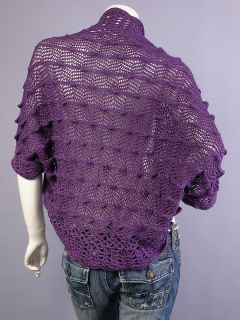 Purple Crochet Bolero Shrug Crop Sweater Cardigan XL