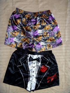 Mens Satin Boxer Shorts BNWOT Size L XL Various Designs
