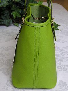 Michael Kors Jet Set Travel Leather Small Tote Bag Purse Lime Green