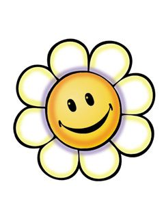 25 Yellow Happy Face Retro Flower Power Wallies Cutouts