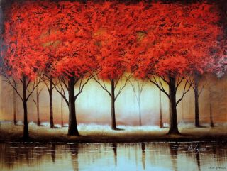 Abstract Red Tree Forest Lake Modern Wall Decor 36X48 Stretched Oil
