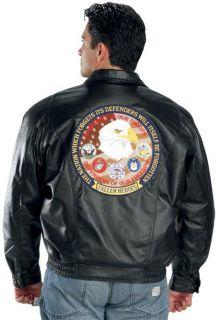 Mens Patriotic Fallen Heroes Black Bomber Leather Jackets 2XL