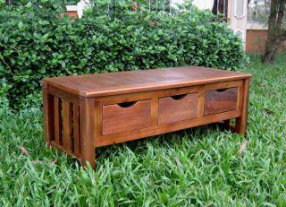 Acacia 3 Drawer Storage Bench Seat Outdoor Pool Yard Garden Tools Toys