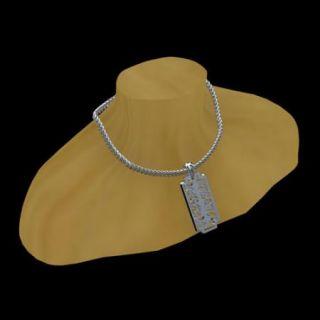 925 Sterling Silver Designer Razor Blade Pendant Necklace