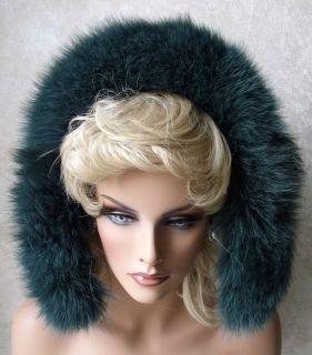 Forrest Green Genuine Fox Fur Strip Collar Scarf Hood Trim