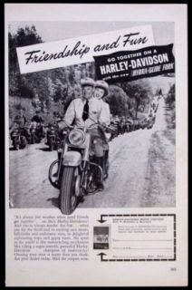 Harley Davidson Hydra Glide *Friendship and Fun* vintage Motorcycle AD