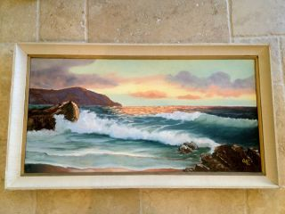 Vintage Original Oil Seascape Canvas Painting signed Cleo 1971 AS IS