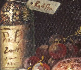 Hamilton French Village Wine Cellar Original Oil Painting Wood Frame