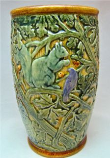 Selma Knifewood Owl Squirrel Blue Bird on The Branch Vase